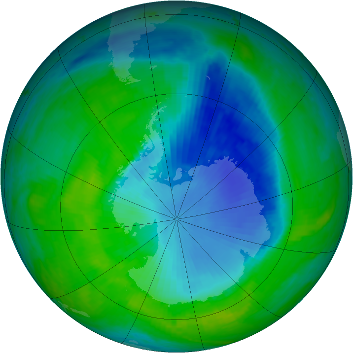 Antarctic ozone map for 10 December 1998