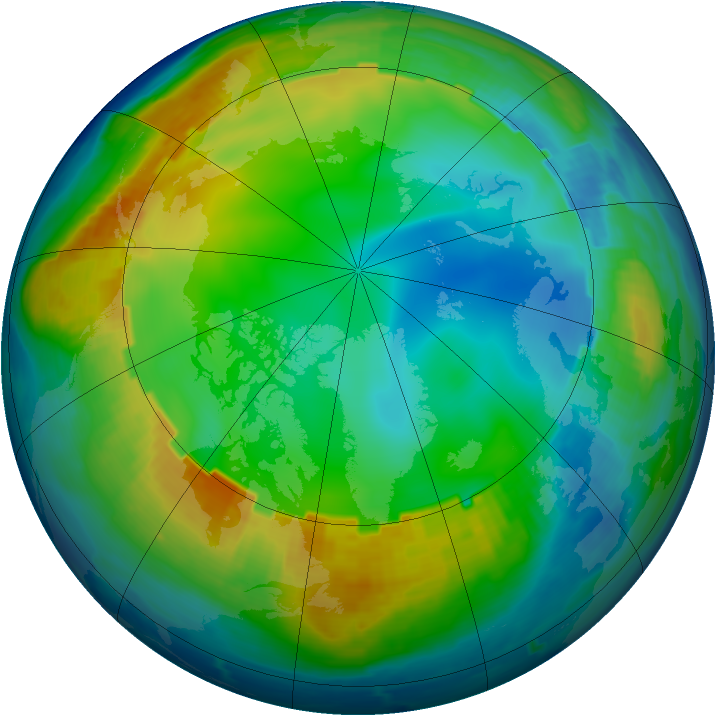 Arctic ozone map for 12 December 1998