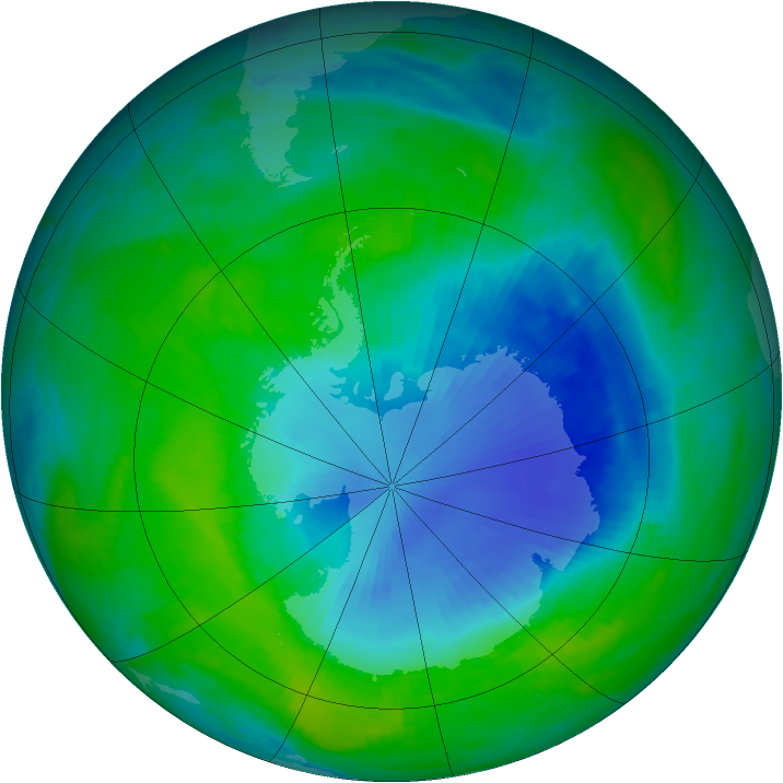 Antarctic ozone map for 12 December 1998
