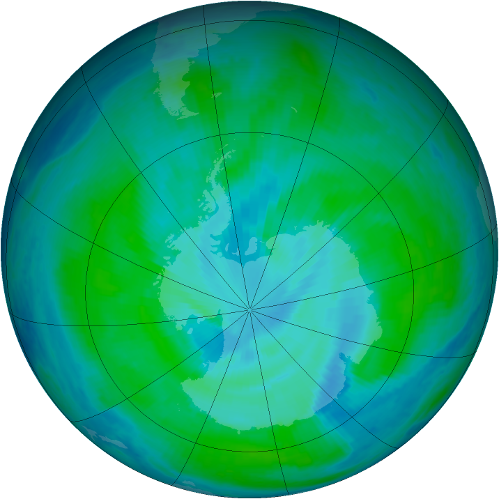 Antarctic ozone map for 03 January 1999