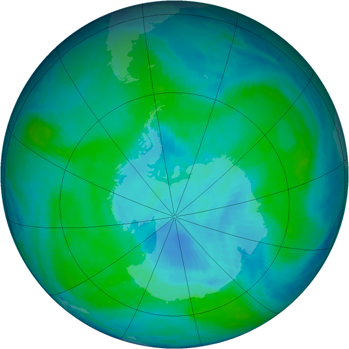 Antarctic ozone map for 08 January 1999