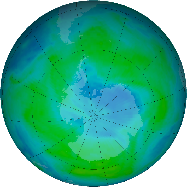 Antarctic ozone map for 16 January 1999
