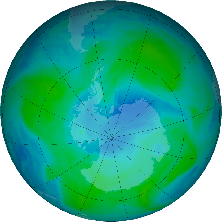 Antarctic ozone map for 20 January 1999