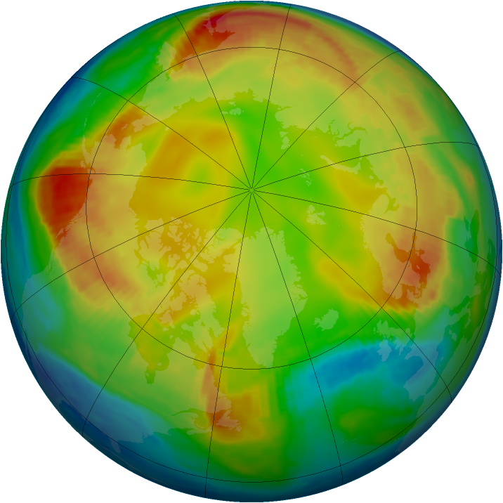 Arctic ozone map for 28 January 1999