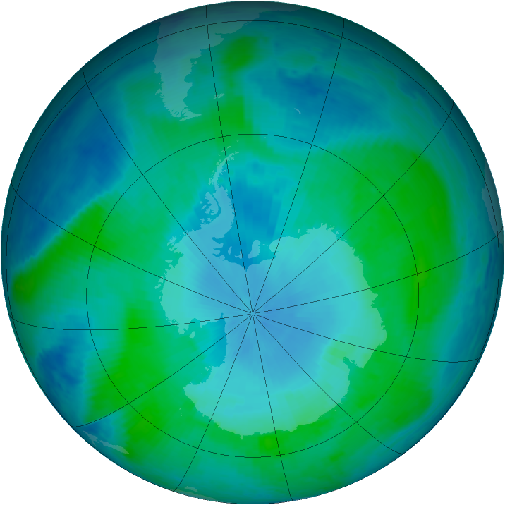 Antarctic ozone map for 31 January 1999
