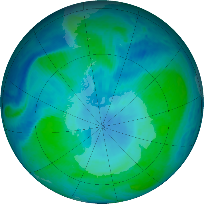 Antarctic ozone map for 01 February 1999