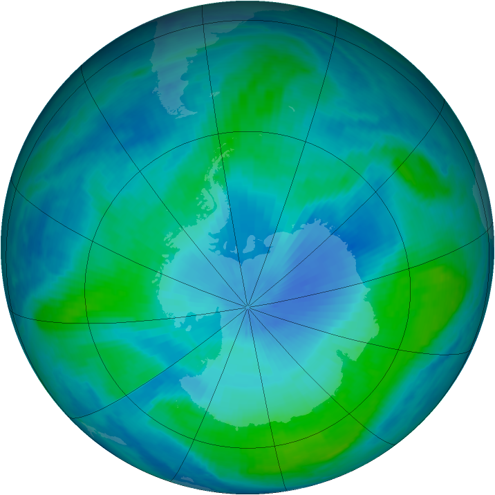 Antarctic ozone map for 04 February 1999