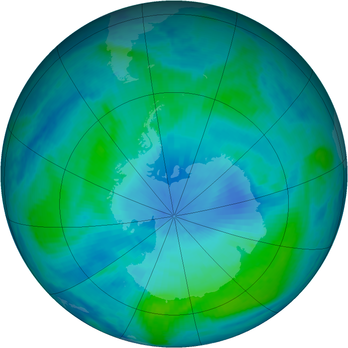 Antarctic ozone map for 06 February 1999