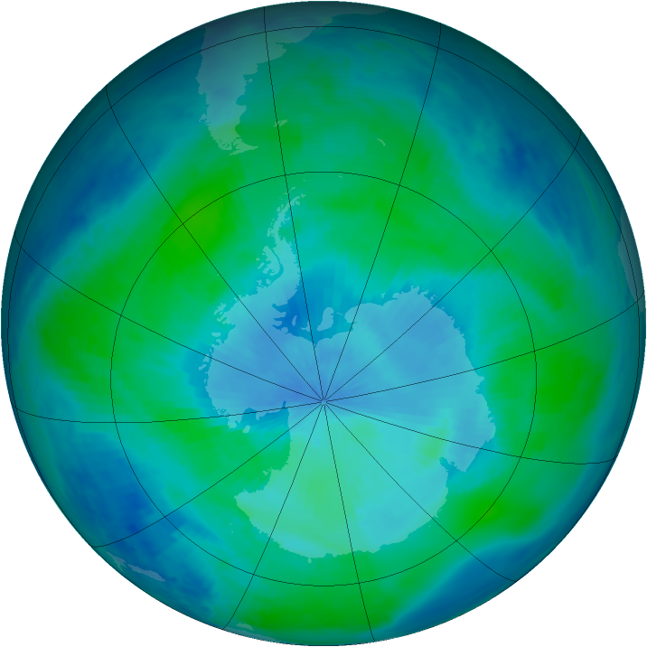 Antarctic ozone map for 16 February 1999