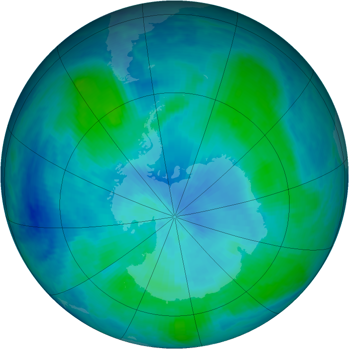 Antarctic ozone map for 22 February 1999