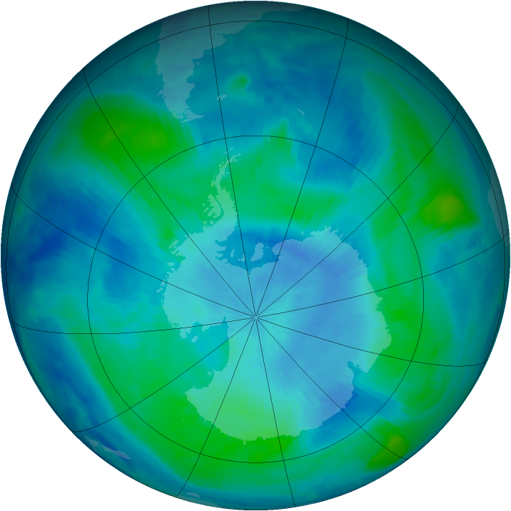 Antarctic ozone map for 26 February 1999