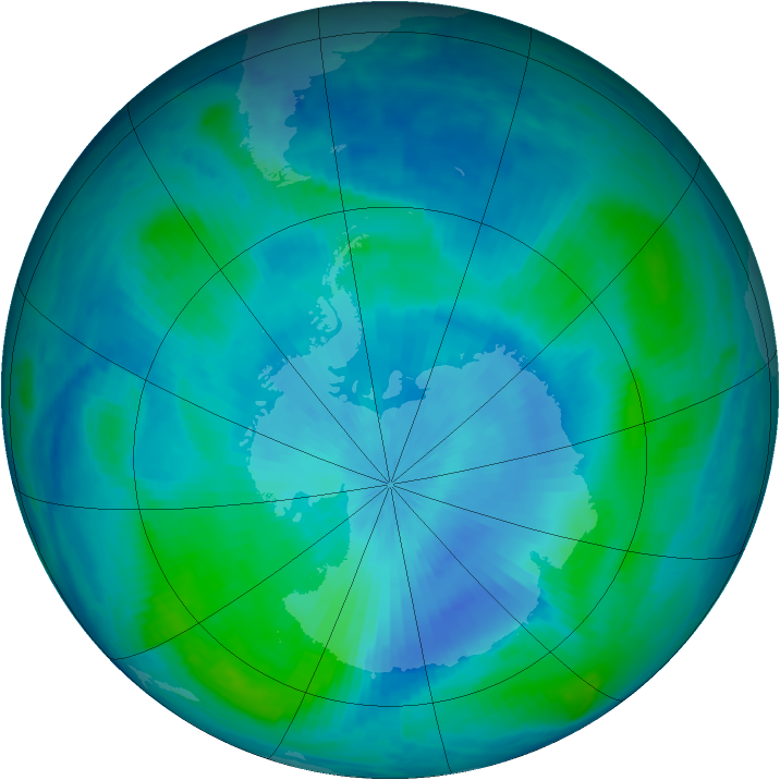 Antarctic ozone map for 28 February 1999