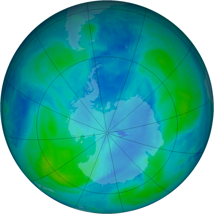 Antarctic ozone map for 02 March 1999