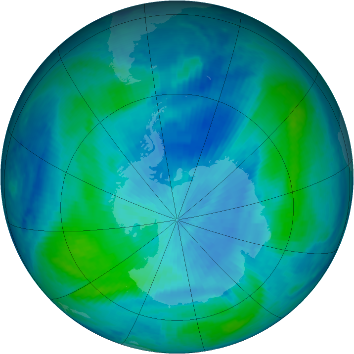 Antarctic ozone map for 03 March 1999