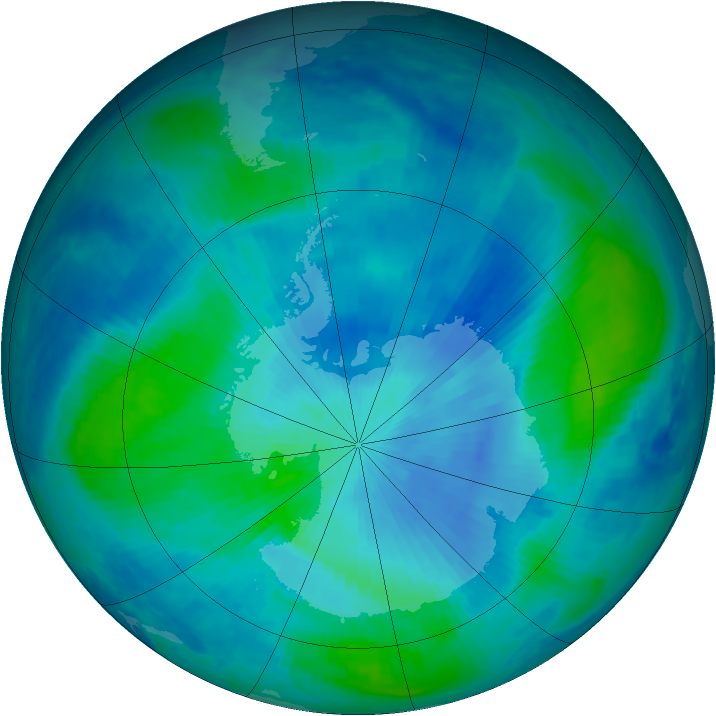 Antarctic ozone map for 05 March 1999
