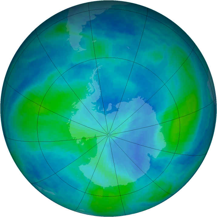 Antarctic ozone map for 06 March 1999