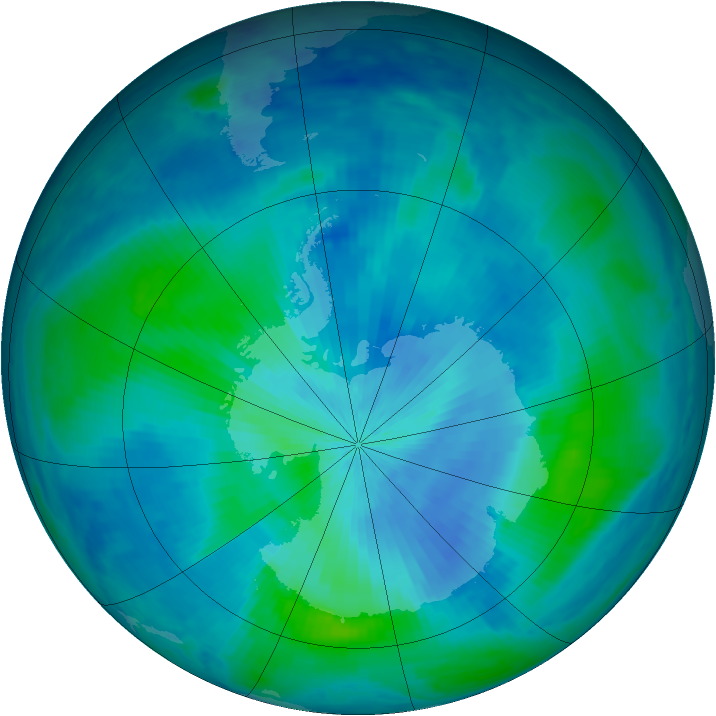 Antarctic ozone map for 07 March 1999