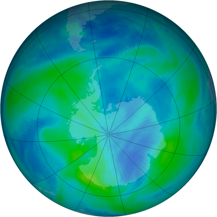 Antarctic ozone map for 08 March 1999
