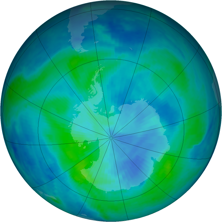 Antarctic ozone map for 09 March 1999