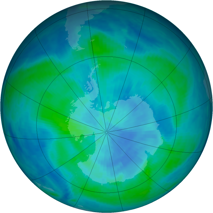 Antarctic ozone map for 10 March 1999