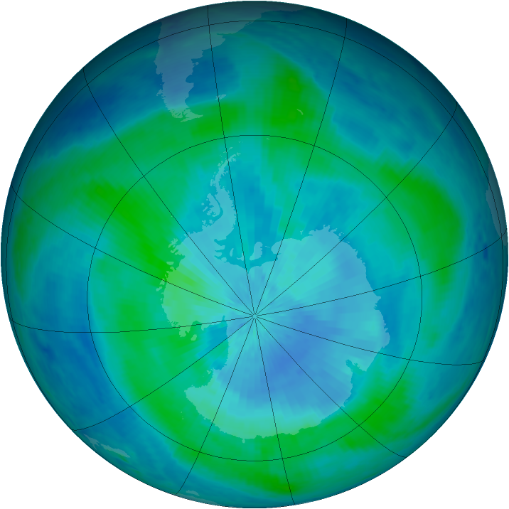 Antarctic ozone map for 11 March 1999