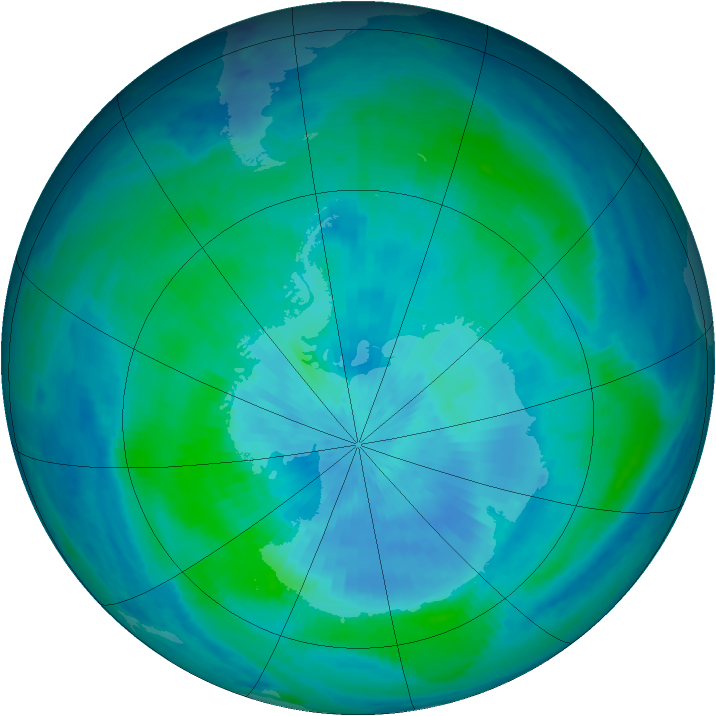 Antarctic ozone map for 13 March 1999
