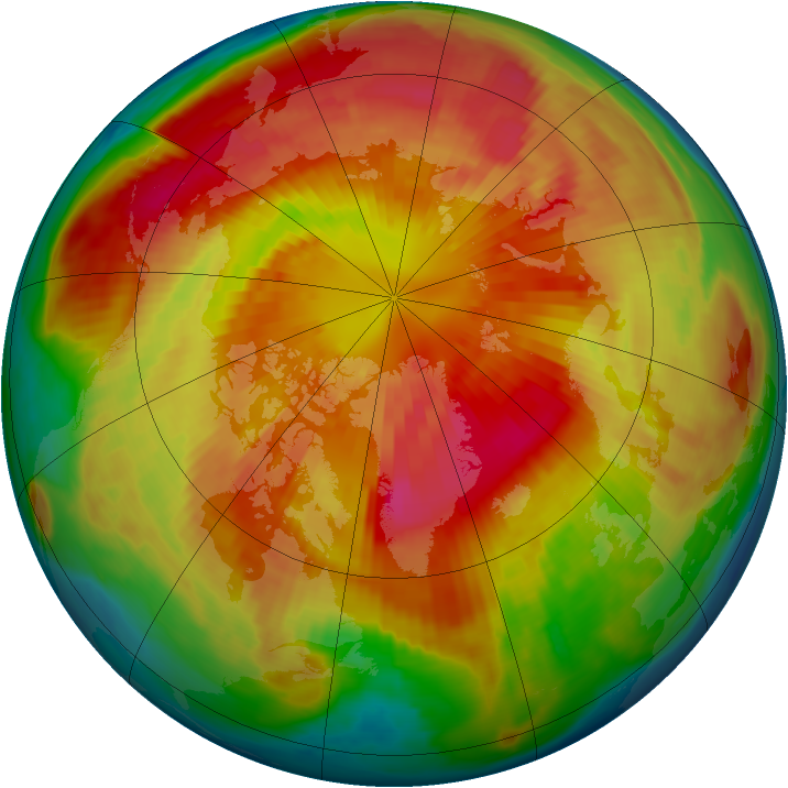 Arctic ozone map for 16 March 1999