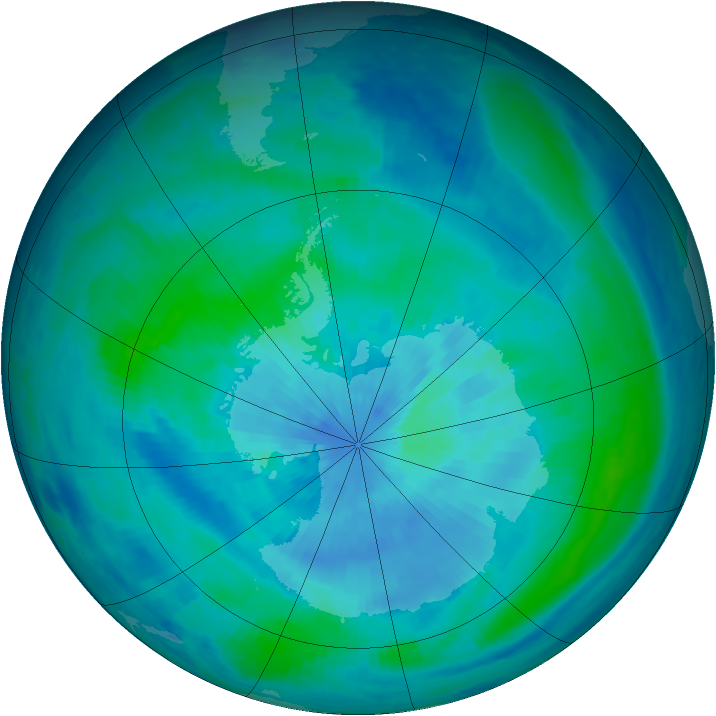Antarctic ozone map for 16 March 1999