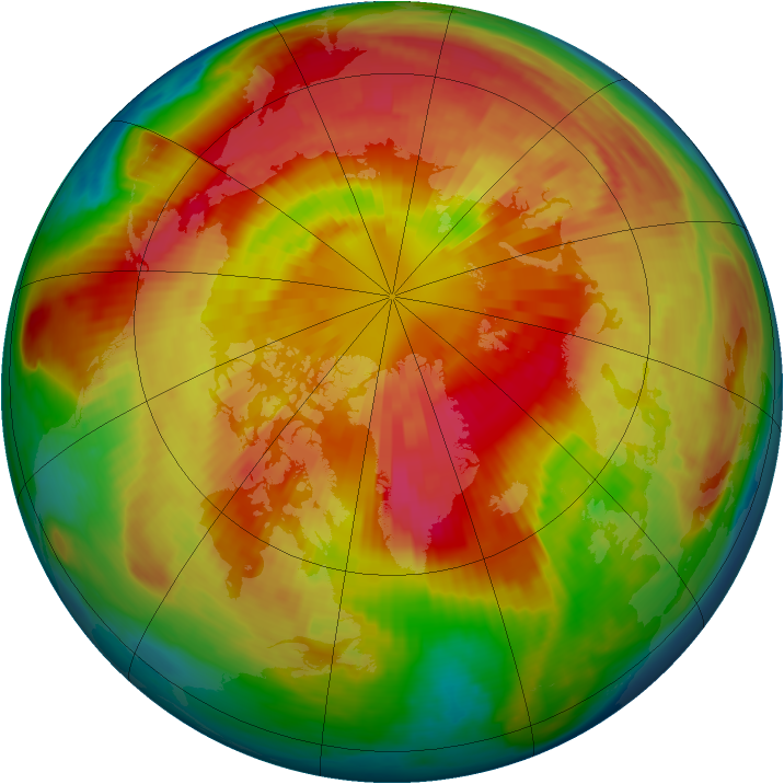 Arctic ozone map for 17 March 1999