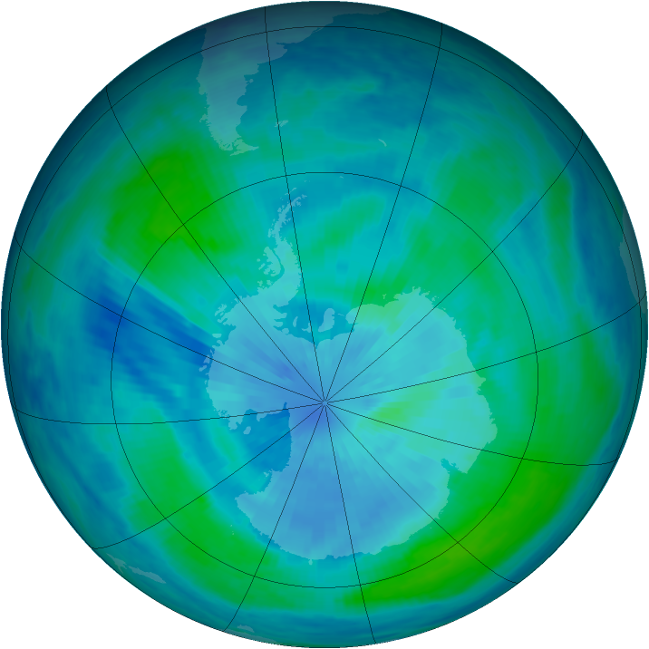 Antarctic ozone map for 18 March 1999
