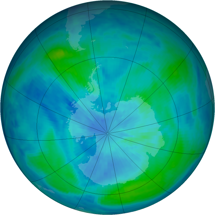 Antarctic ozone map for 19 March 1999