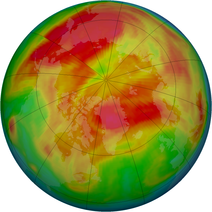 Arctic ozone map for 20 March 1999
