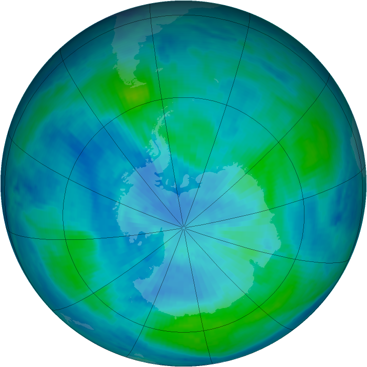 Antarctic ozone map for 20 March 1999