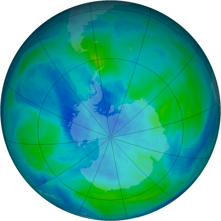 Antarctic ozone map for 21 March 1999