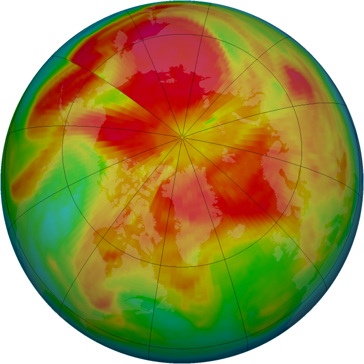 Arctic ozone map for 22 March 1999