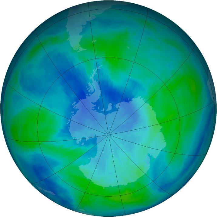 Antarctic ozone map for 22 March 1999