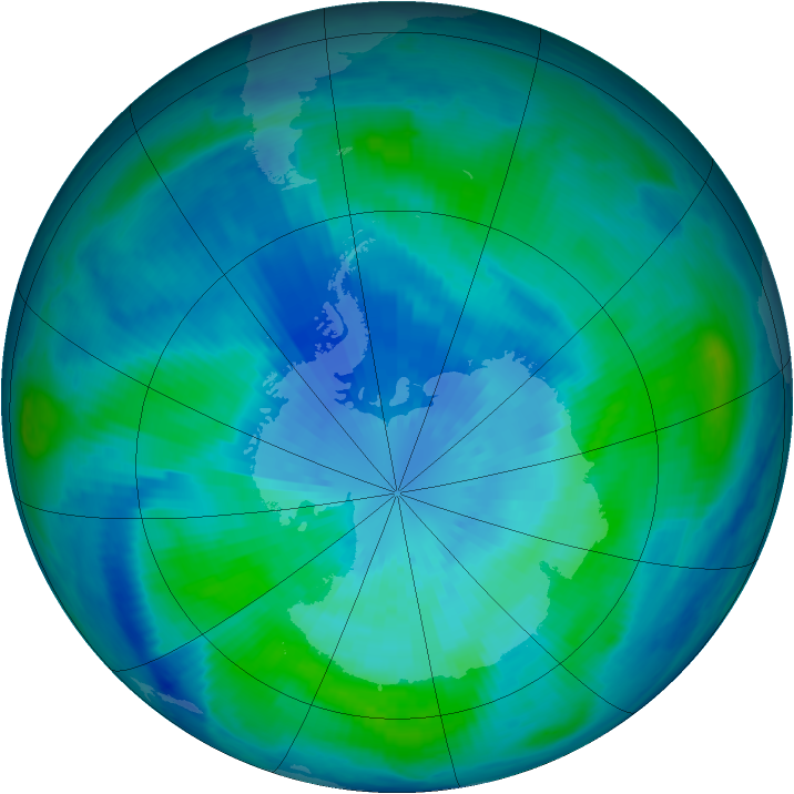 Antarctic ozone map for 23 March 1999