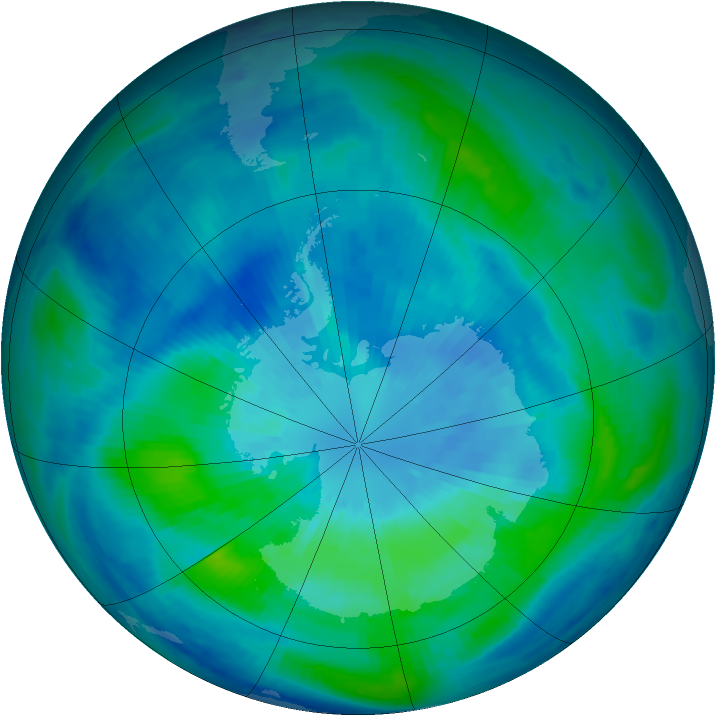 Antarctic ozone map for 25 March 1999