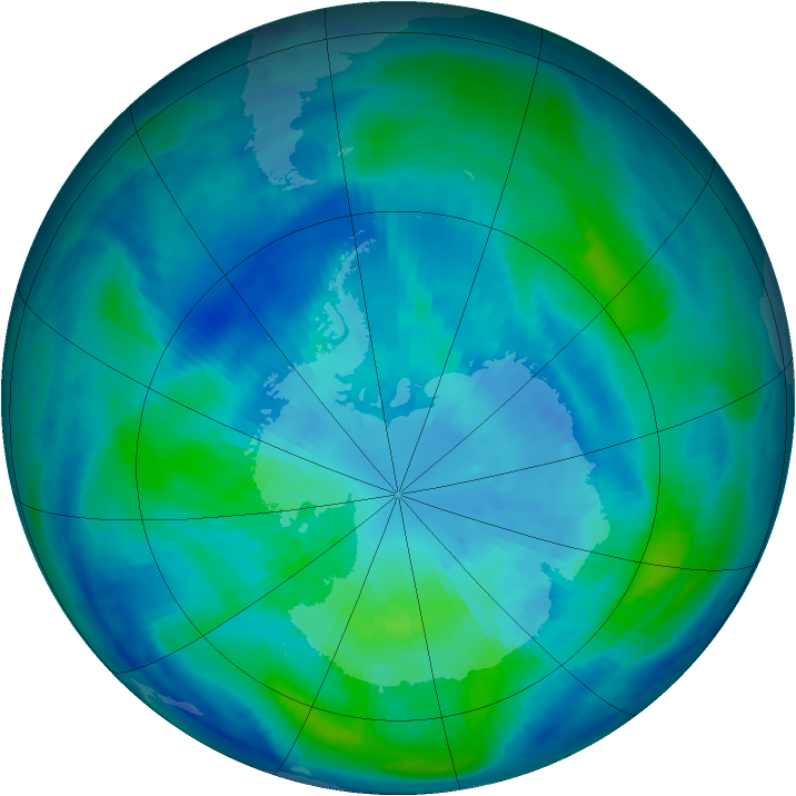 Antarctic ozone map for 26 March 1999