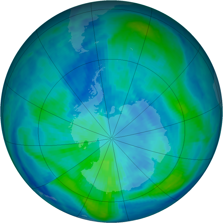 Antarctic ozone map for 27 March 1999