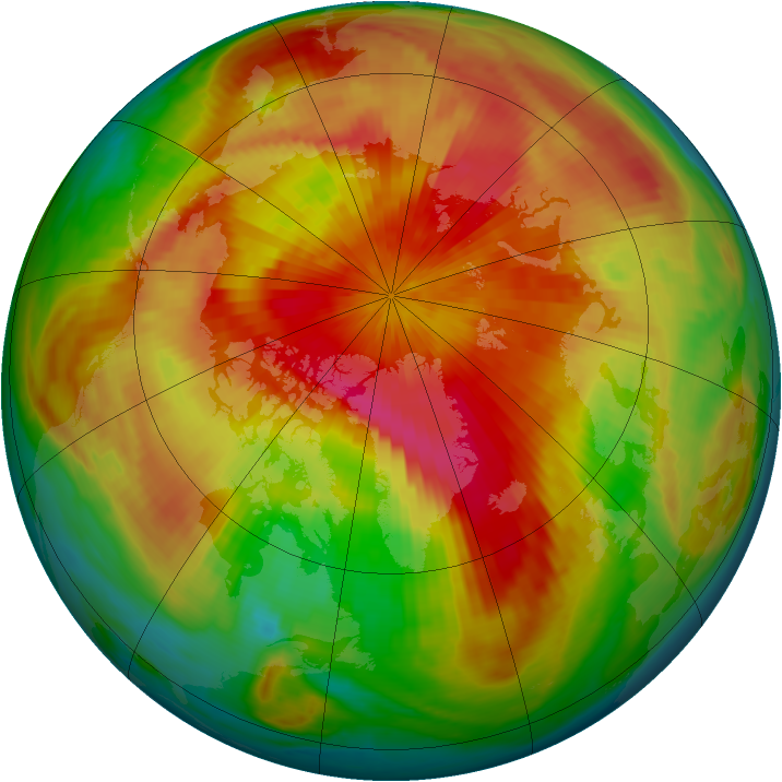 Arctic ozone map for 29 March 1999