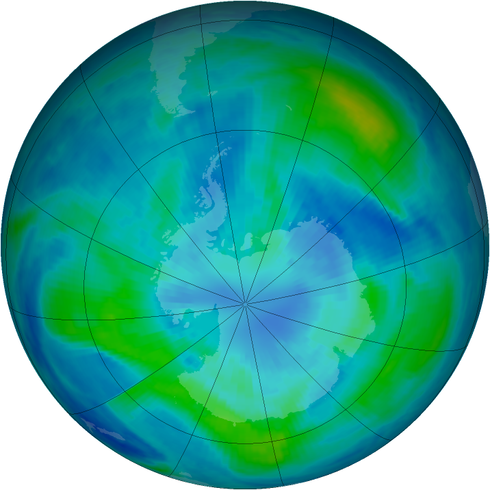 Antarctic ozone map for 29 March 1999