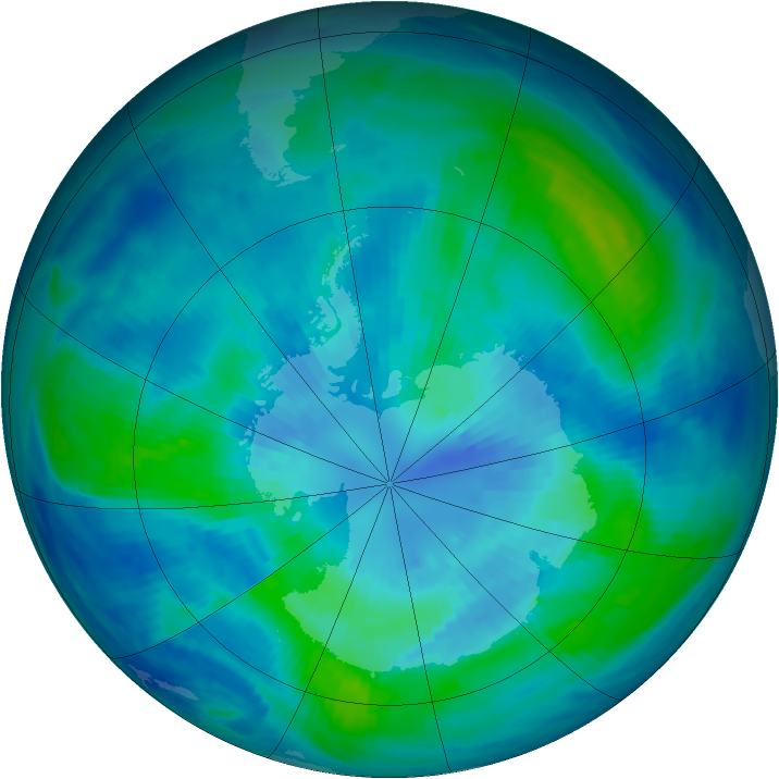 Antarctic ozone map for 30 March 1999