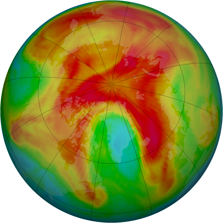 Arctic ozone map for 31 March 1999