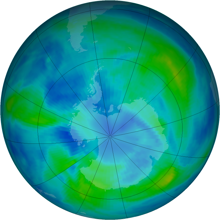 Antarctic ozone map for 31 March 1999