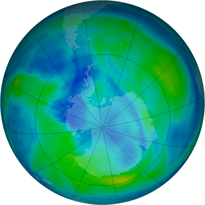 Antarctic ozone map for 01 April 1999