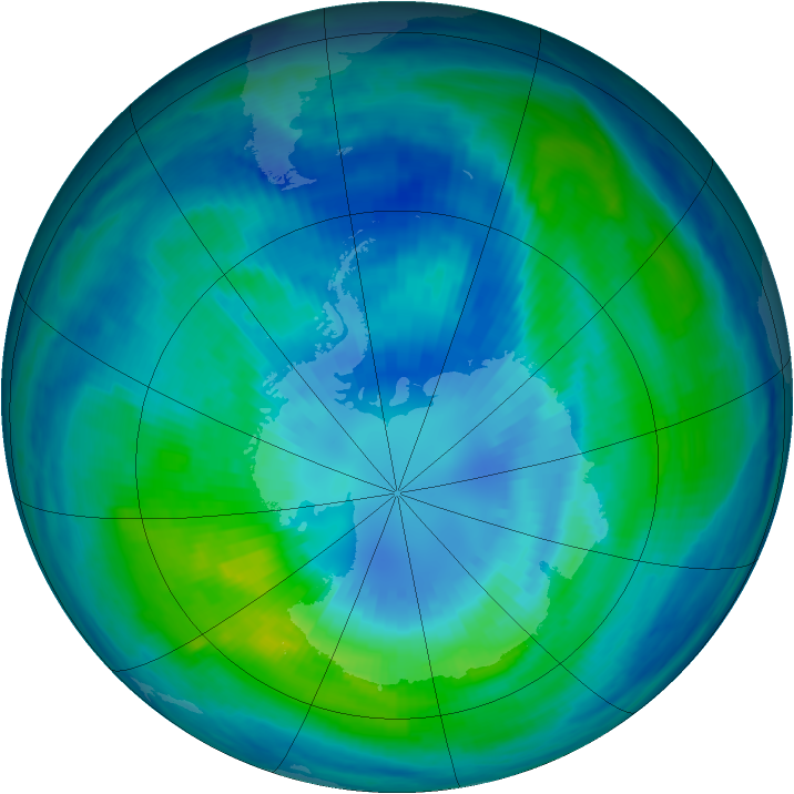 Antarctic ozone map for 03 April 1999