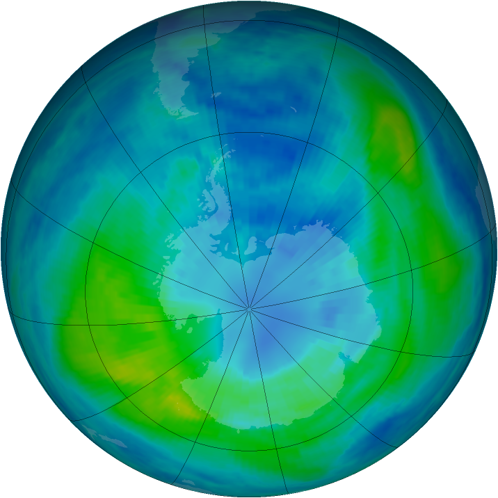 Antarctic ozone map for 04 April 1999