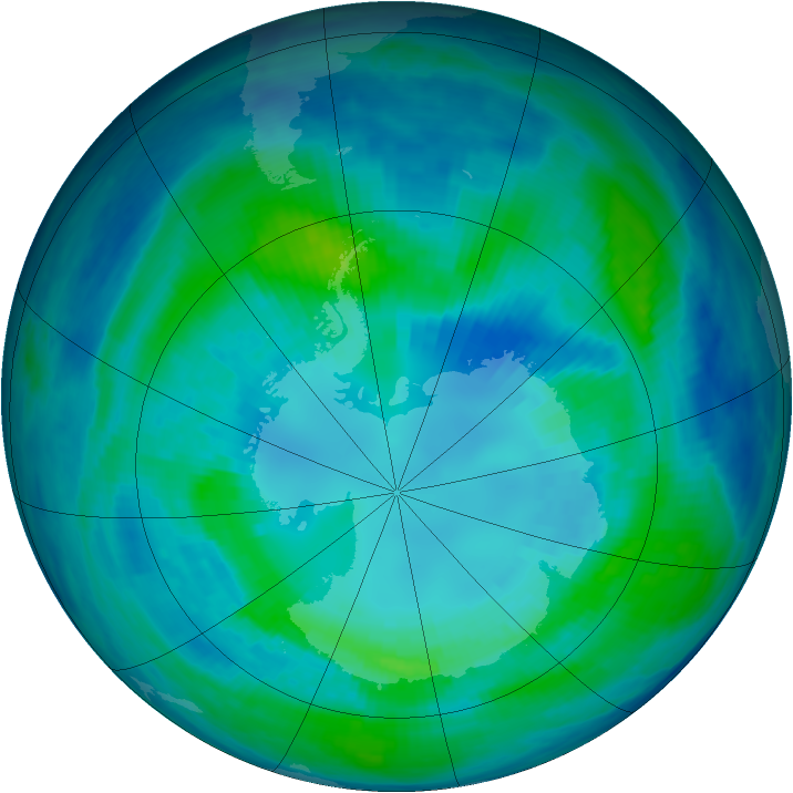 Antarctic ozone map for 13 April 1999