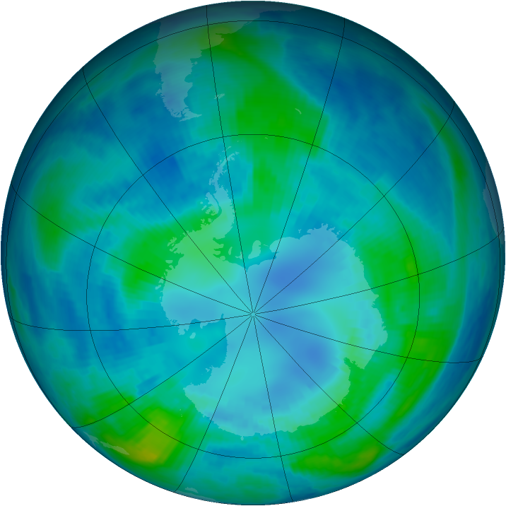 Antarctic ozone map for 16 April 1999